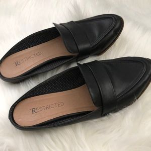 Restricted Black Faux Leather Flat Mules - US 8